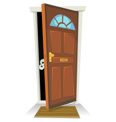 Something or someone behind the door vector