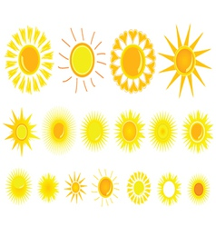 sun yellow set vector image vector image