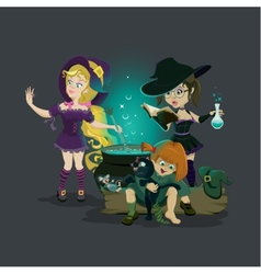 Three witches brew potion vector image vector image