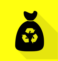 Trash bag icon black icon with flat style shadow vector