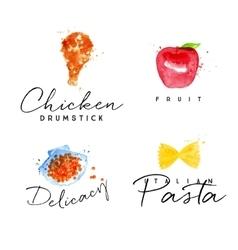 Watercolor label pasta vector