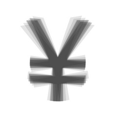Yen sign gray icon shaked at white vector