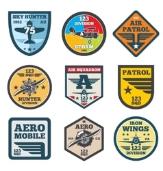 Army jet aviation air force labels patch vector image