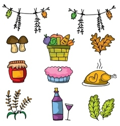 Doodle of food and element thanksgiving vector
