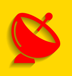 satellite dish sign  red icon with soft vector image