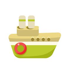 toy green steamer boat with two chimneys object vector image