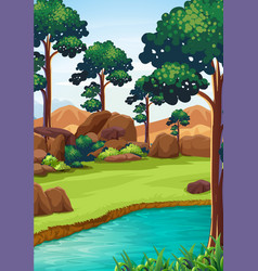 Forest scene with river and field vector