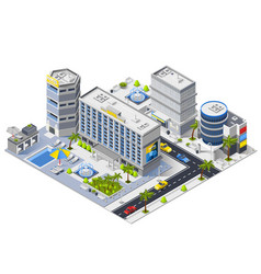 Luxury hotel buildings isometric composition vector