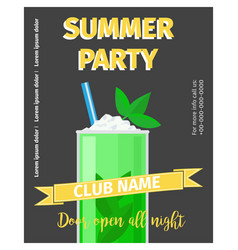 cocktail party celebration flyer with mojito vector image