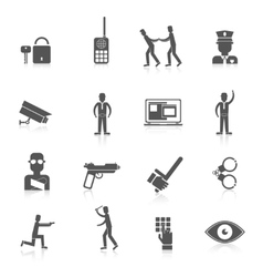 Security guard black icons vector