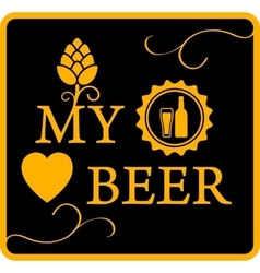 My love beer icon vector