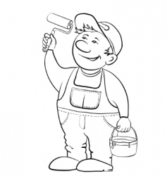 Worker house painter contour vector