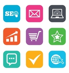 Internet seo icons star shopping signs vector