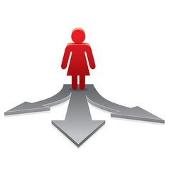 woman on crossroads vector image