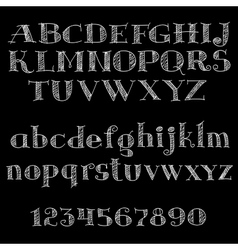 Chalk font or type alphabet on blackboard vector
