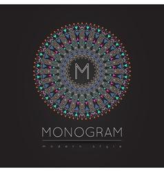 Elegant linear abstract monogram logo design temp vector