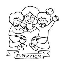 Happy mothers day card with cartoons vector