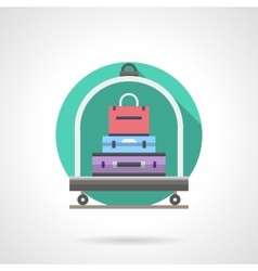 Baggage cart detailed flat color icon vector