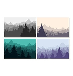 Concept winter forest landscape set vector