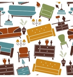 Seamless pattern of home furniture vector