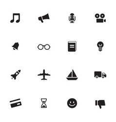 Black simple flat icon set 5 vector
