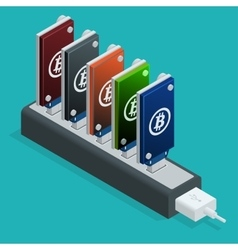 Bitcoin mining usb devices in a row flat 3d vector