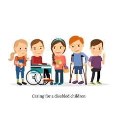 Disabled or handicapped children with friends vector