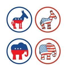 Democratic donkey and republican elephant symbols vector