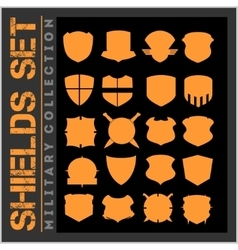 Shield frames icons set - military shields vector