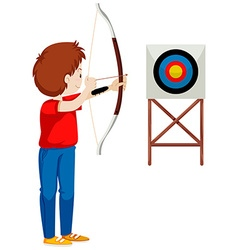 Man shooting arrow at the target vector
