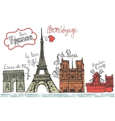 Paris landmark panoramadoodle colored sketchy vector