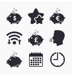 Piggy bank icons dollar euro pound moneybox vector