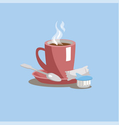 A cup of coffee on a saucer with sugar cream and vector