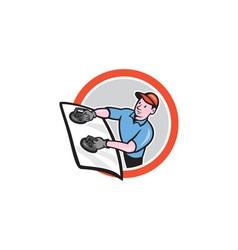 Automotive glass installer front circle cartoon vector