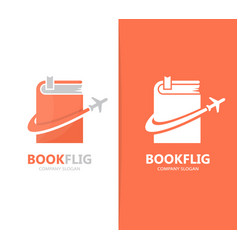 book and airplane logo combination vector image vector image
