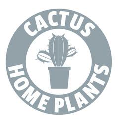 Botanical cactus logo simple gray style vector