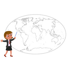 Businesswoman showing on worldmap vector
