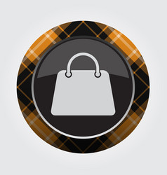 Button with orange black tartan - handbag icon vector
