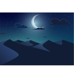 Desert landscapedunes with crescent moon vector