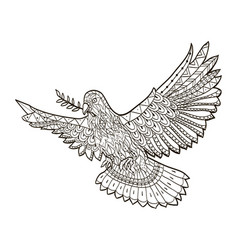 Dove of the world fly with a branch in its beak on vector