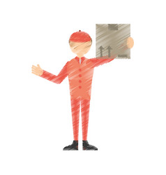 Drawing man post mail box vector
