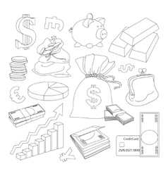 Finance and Currency icons set vector image vector image