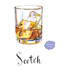 glass of scotch whiskey brandy with ice cubes vector image