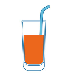 Glass with orange juice icon vector