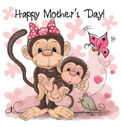 Greeting card two monkeys a mother and a baby vector