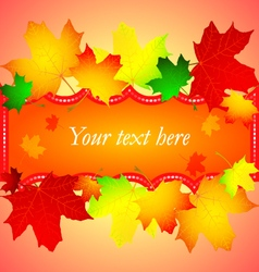 Greeting card with autumn leaves vector