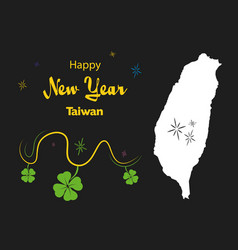 Happy new year theme with map of taiwan vector