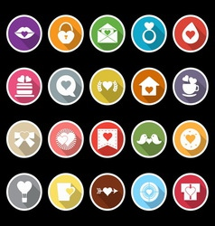 Heart element icons with long shadow vector image vector image