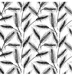 ink hand drawn cereal field seamless pattern vector image