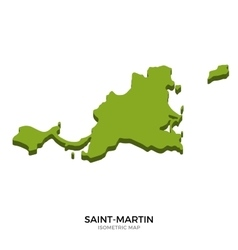 Isometric map of Saint-Martin detailed vector image